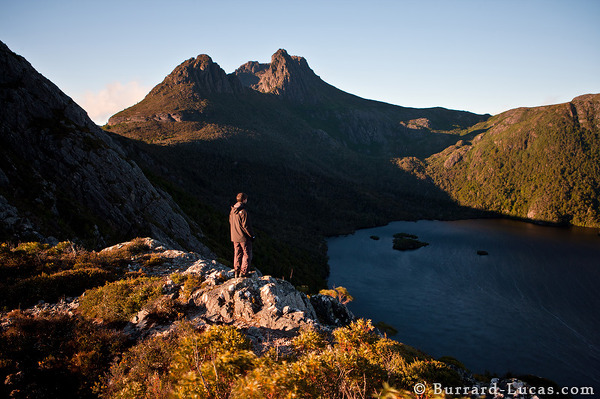 Matt looking out over Dove Lake and Cradle Mountain