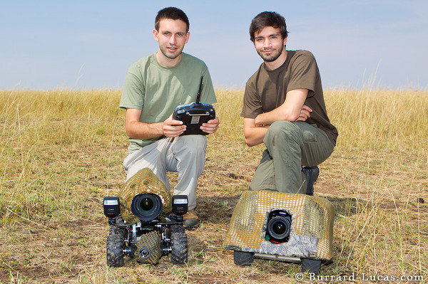 Will and Matt with BeetleCam Mark II (left) and BeetleCam Armoured Edition (right)