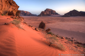 This picture shows the desert landscape of Wadi Rum in the pre-dawn light. Notice the cute little footsteps in the foreground!