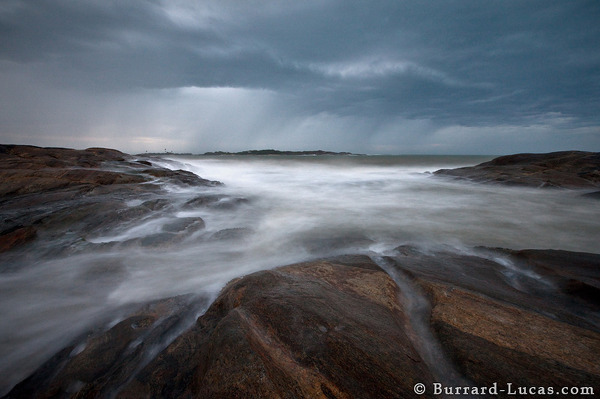 A long exposure of the stormy sea.