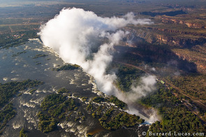 Victoria Falls as seen from the air. This is taken from the Zimbabwean side looking towards Zambia.