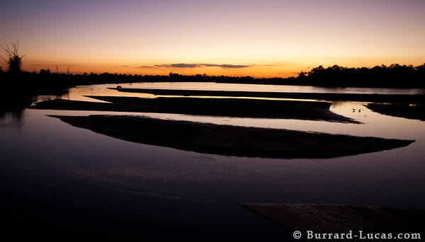 The Luangwa River at dusk, South Luangwa National Park.