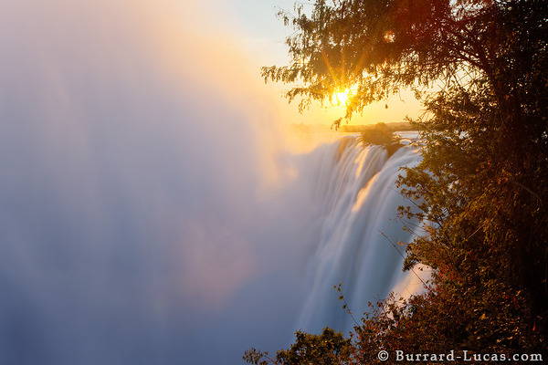 Victoria Falls at Sunset.
